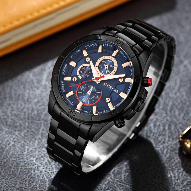 Mens Watches Curren Brand Luxury Gold Black Steel Quartz Watch Men Fashion Casual Business Wristwatches Relogio Masculino 8275