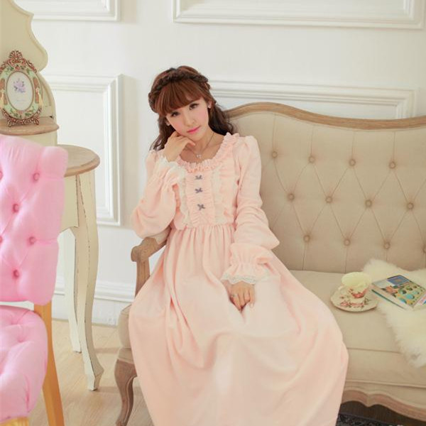 Flannel Nightgown Women Winter Winter Sleepwear Warm Sleepwear Dress Vintage Nightdress Lady Princess Nightgown Long Dress High Quality