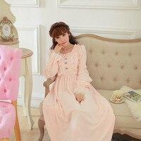 Flannel Nightgown Women Winter Sleepwear Warm Sleepwear Dress Vintage Nightdress Lady Princess Nightgown Long Dress High Quality