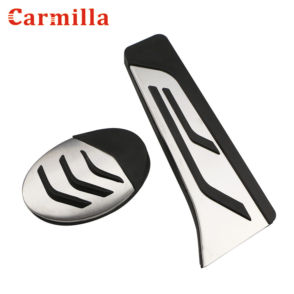 Carmilla Stainless Steel Car Styling Fuel Gas Pedal Car Brake Pedals Cover For BMW X1 F48 AT 2016 2017 2018 Auto Parts