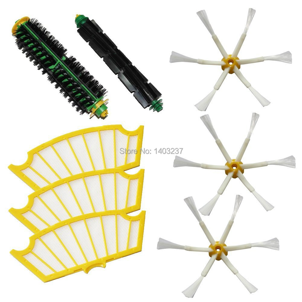 Bristle Flexible Beater Brush Side Brush 6-Armed 3 Filters Pack Kit  For iRobot Roomba 500 Series Roomba 510, 530, 535 vacuum cleaner accessory kit roomba 500 551 536 accessory kit replacement includes 1 battery 3 side brush 3 filters