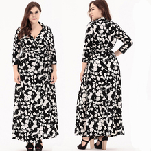 plus size Dress Women clothing Long Sleeve Long Dress Muslim Kaftan Caftan Casual Abaya Wrap Bohemian DRESS casual party 0086(China)