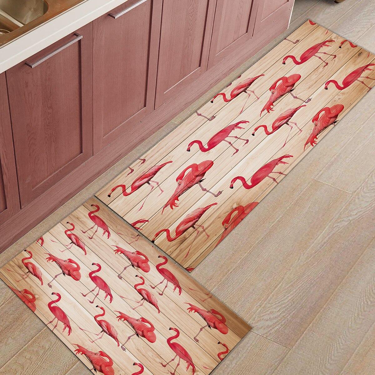 Wood Grain Print Rug: 2pcs/set Wood Grain Flamingo Print Doormats Entrance Front