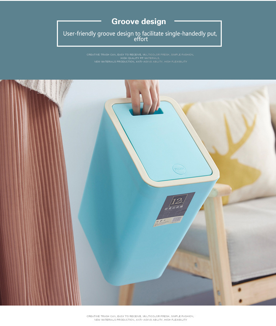 Creative Fashion Plastic Trash Can 8L/12L Pressing Cover Type ...