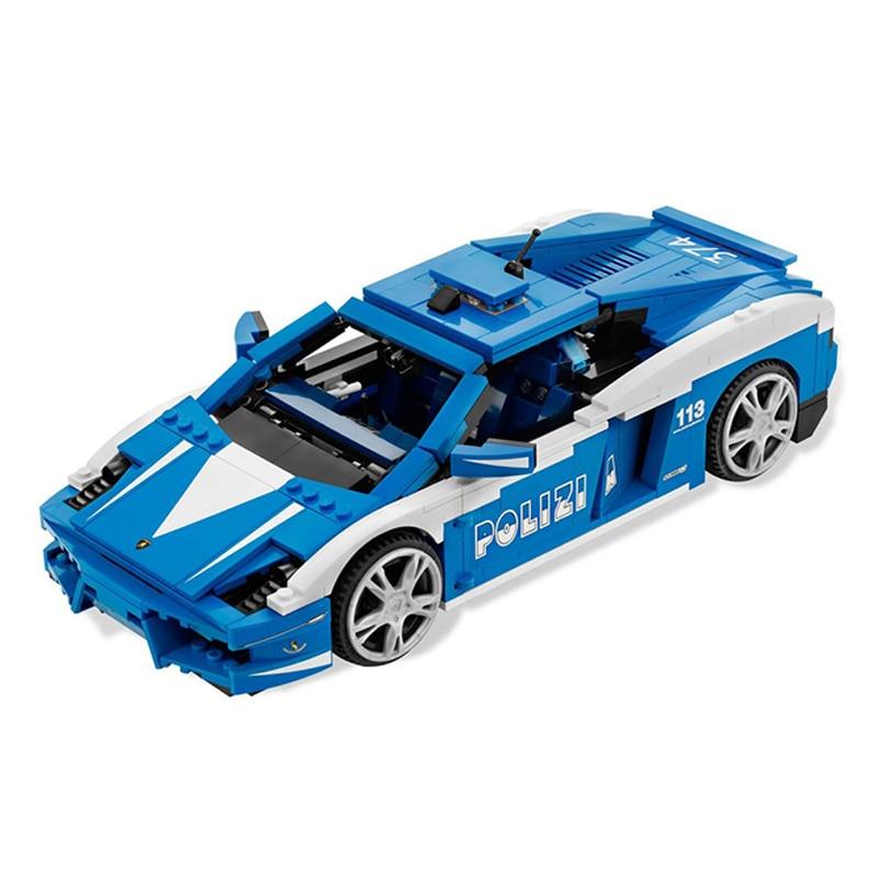 1077 Pcs Yile 008 Creative Series The Lamborghini Police Car Gallardo LP560-4 Racing Car Set Building Blocks Bricks Toys 8214 технопарк машинка инерционная lamborghini gallardo lp 560 4 цвет красный