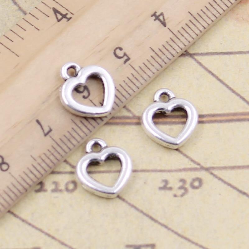 20PCS Tibetan Silver Pretty Double Hearts Charms Pendants For Jewelry Making
