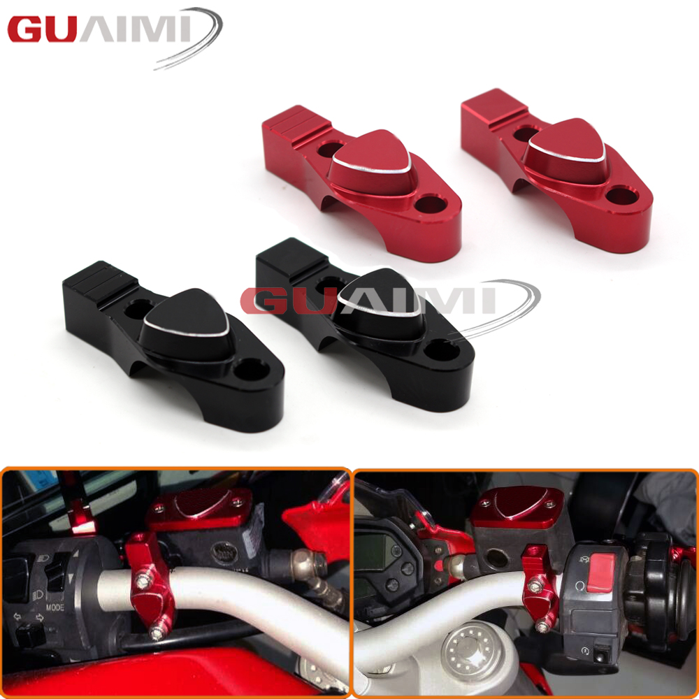 For DUCATI MONSTER 696 695 796 Motorcycle CNC Billet Aluminum Handlebar bar Clamp with Mirror adapter 3D Logo universal 7 8 22mm cnc motorcycle handlebar protector guard proguard brake clutch levers protect for ducati monster 696 695 796