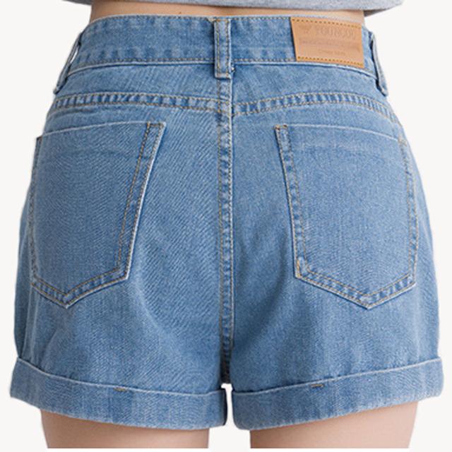 Shorts Jeans Mulheres Do Vintage Cor Sólida cowboy Feminino Shorts De Cintura Alta Verão Feminino Plus Size Casuais Mulheres Curtas Calças de Brim