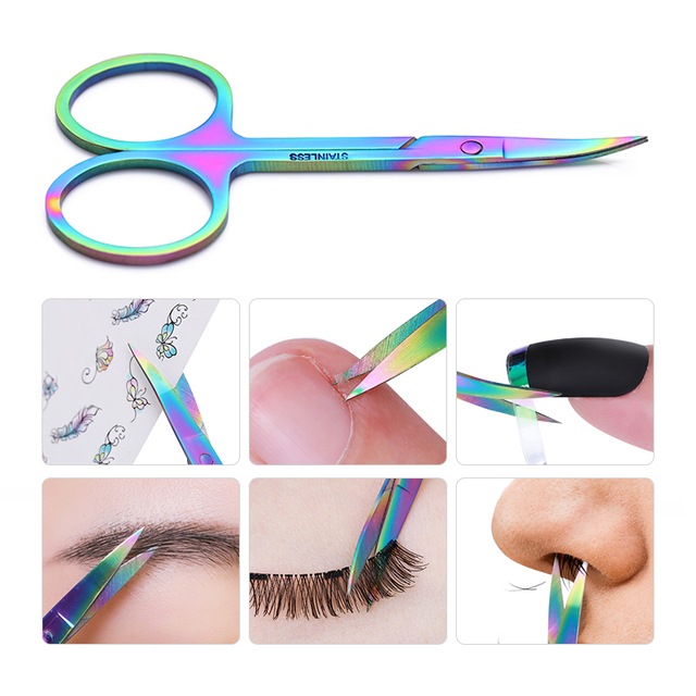 BORN PRETTY 1 Pc Chameleon Manicure Scissor For Nail Cuticle Makeup Curved Head Eyebrow Scissor Dead Skin Remover Nail Tool 1