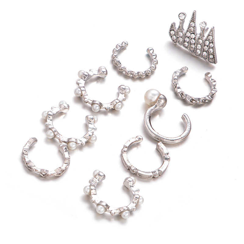 9PCS Boho Ear Cuff Brincos Simulated Pearl Ear Clip Earrings Set Women Statement Bohemia Crystal Ear Cartilag Earrings Jewelry