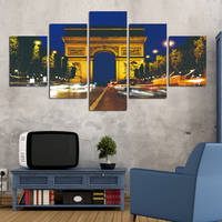 Fashion 5 Pieces Canvas Art Canvas Paintings HD City At Night Landscape Group Decorations For Home