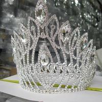 Large Bride Tiara Crown Luxury Crystal Women Hair Jewelry Rhinestone Wedding Crown Hairwear Headbands Bridal Hair Accessories
