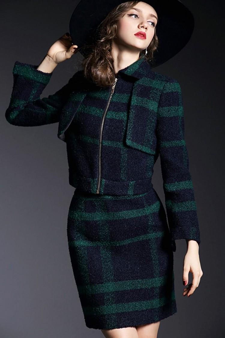 Runway Style High Grade Grid Pattern Woolen Green Skirt Suits Autumn Winter 2015 (13)