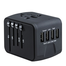 лучшая цена Travel Adapter International Universal Power Adapter All-in-one with 3.4A 4 USB Worldwide Wall Charger for UK/EU/AU/US