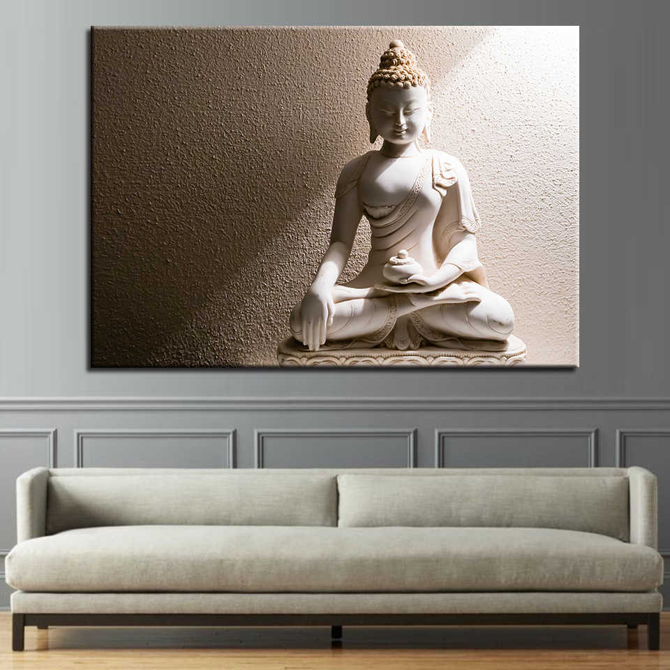 HD Prints For Living Room Wall Art Canvas Paintings 1 Piece White Marble Buddha Pictures Traditional Culture Posters Home Decor