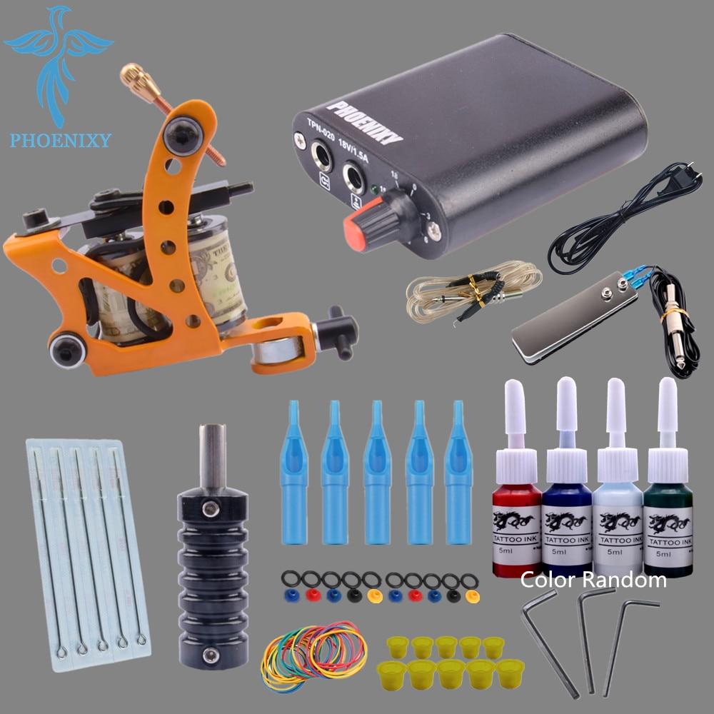 Beginner Tattoo Kit 1 Machine Complete Tattoo Machine kit 4 Color Inks Power Supply Set Tattoo