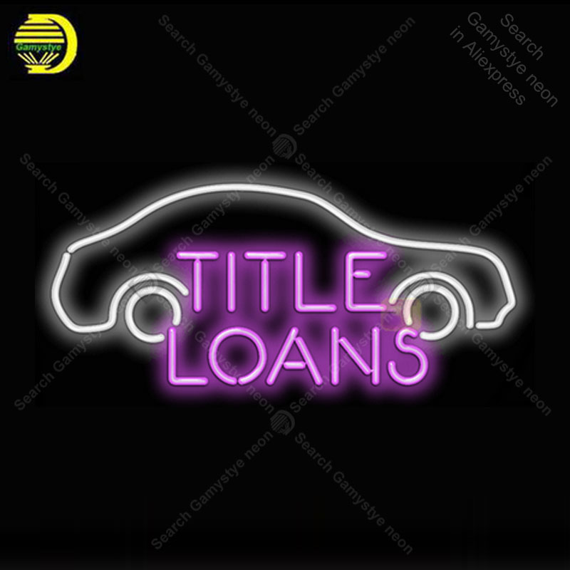 Title Loans with Car Neon Light Sign Glass Tube Handcraft Neon Bulbs Sign Decor Room Garage Neon board Sign lamps accessories image