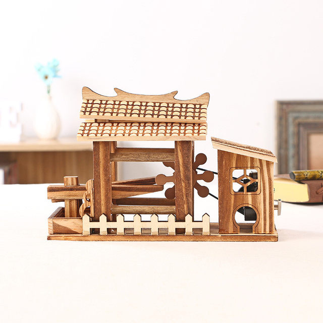 DIY Wood Home Decor Mini Waterwheel Figurines Can Rotate Waterwheel Retro  Office Decoration Hand Crank Music Boxes