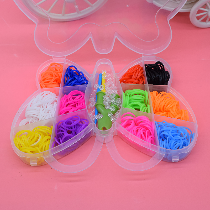 Butterfly 600pcs Diy Toys For Children Rubber Bands Loom Bracelet Colorful Gum Kids Girl Gift Hair Band Handmake Woven Bracelets