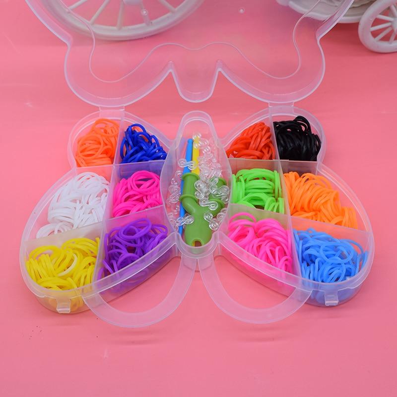 Butterfly 600pcs Diy Toys For Children Rubber Bands Loom Bracelet Colorful Gum Kids Girl Gift Hair Band Handmake Woven Bracelets