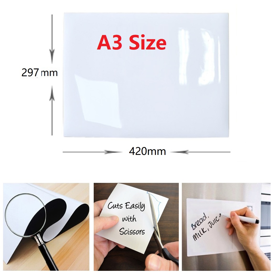 Image 3 - Magnetic white Board A3 Size 297mm X 420mm Fridge Magnet Dry Wipe Magnetic Whiteboard Pens Eraser Smart Notepad Message Board-in Fridge Magnets from Home & Garden