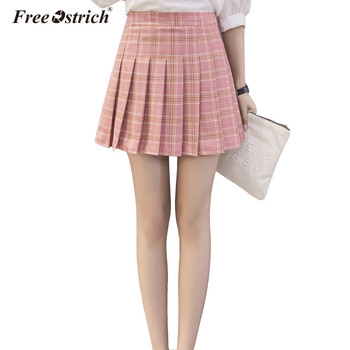 Free Ostrich Plaid Skirts S~3XL High Waist Women A Line Mini Pleated Short Skirt 2017 Preppy Style Skirts Summer Jupe Femme jeans con blazer mujer