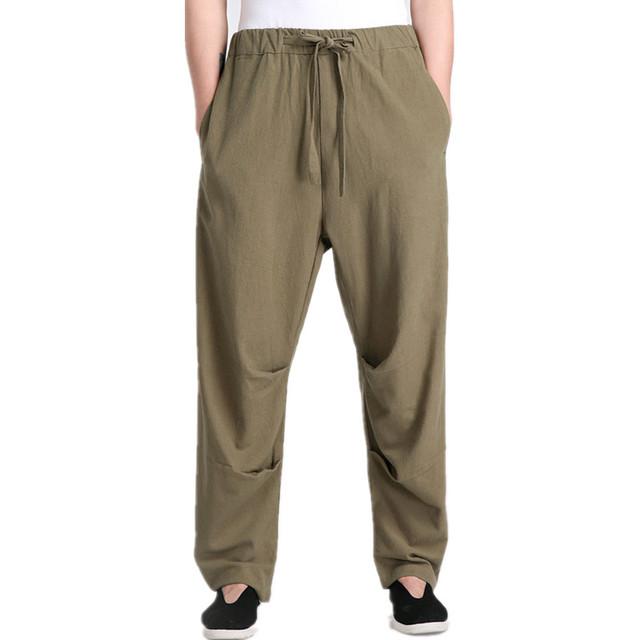 Nueva Llegada Verde de Los Hombres Chinos de Kung Fu Pantalones de Algodón Pantalones de Lino Tamaño de la Ropa Sml XL XXL XXXL 2607
