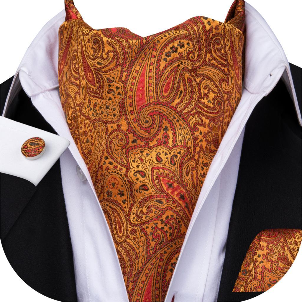 Men Silk Cravat Tie Orange Ascot Ties Floral Handkerchief Cufflinks Set Paisley Neck Tie For Wedding Gift Hi-Tie AS-1010