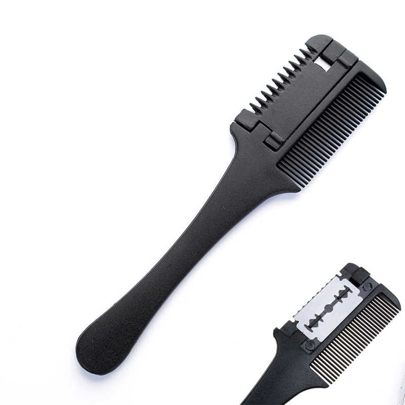 1 Pcs Plastic Professional Hair Razor Comb Home Salon Black Handle Hair Razor Cutting Thinning Trimmer Hair Styling Tools