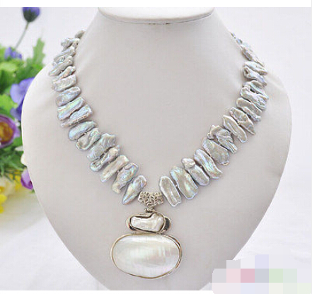 CB27 Beautiful 17 25mm gray biwa dens freshwater pearl necklace mabe pendant