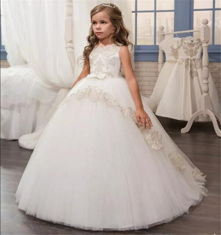 Gorgeous   Flower     Girl     Dress   with Bow and Appliques Open Back Designed For Various Parties First Communion Christmas Holiday Longo