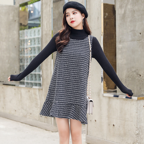 2018 Womens Korean Punk Harajuku Ulzzang Sweet Houndstooth Dress Loose Retro Strap Long Female Ladys Clothing Dresses For Women Wide Selection; Women's Clothing