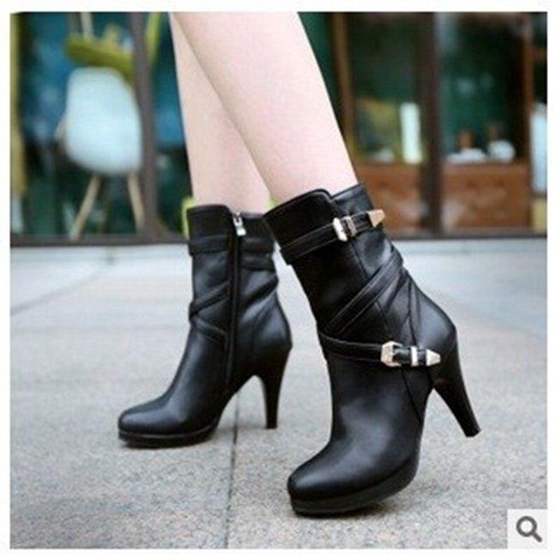 Senhora tamanho grande ( 10 - 17 ) zip fivela de veludo inverno couro meados de bezerro fina de salto alto bota de equitação, Equitação botas mulheres sapatos