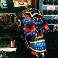 Personality Hand painted skeleton Resin Skull 1/1 Retro Creative Bar Home Decor Wine Cabinet Living Room Halloween Gift M874