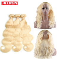 Allrun Brazilian Body Wave 613 Blonde Bundles With Frontal Remy Blonde Human Hair Weave 360 Lace Frontal Closure With Bundles