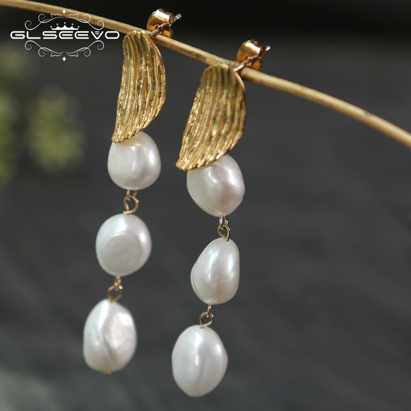 GLSEEVO Natural Fresh Water Baroque Pearl Dangle Long Earrings For Women Gift Drop Wedding Earring Fine Jewellery Brincos GE0548 best lady special design bohemian wedding natural fresh water pearls earring women fashion dangle jewelry multi color earrings