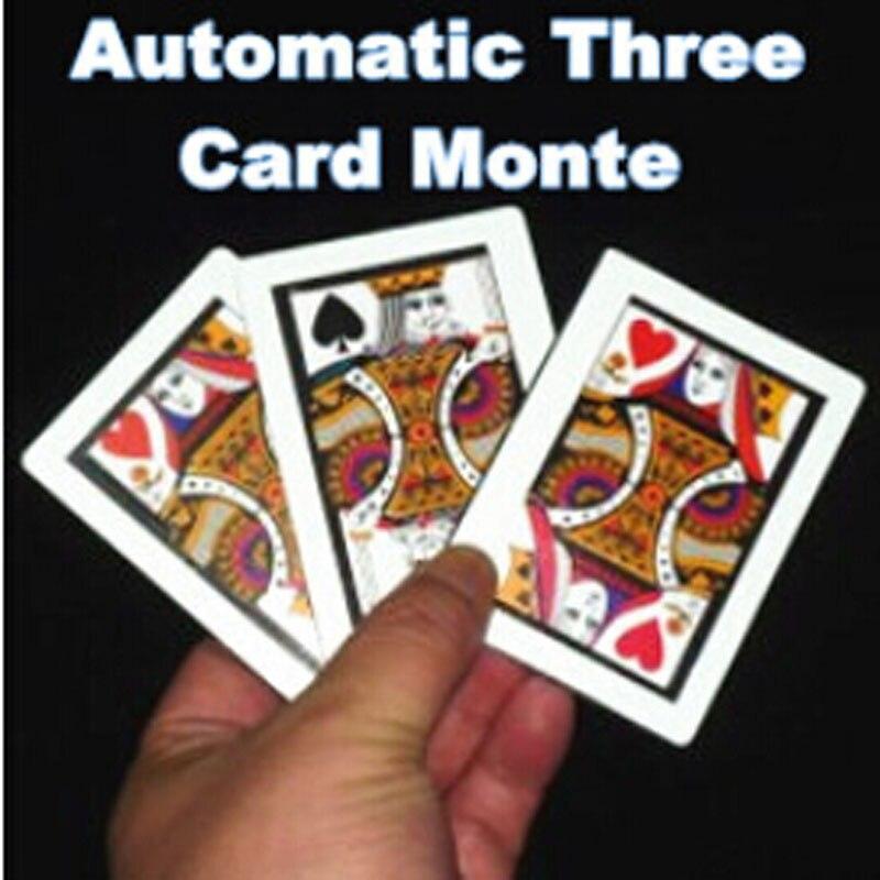 3 pcs/lot automatique trois cartes Monte (taille de Poker, 8.8x6.4 cm) tours de magie K à Q carte Magia gros plan accessoires Gimmick amusant