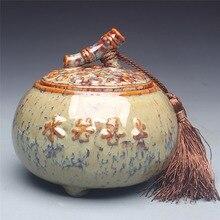 Желтый хороший, как керамическая чайница труба барабаны Pu'er чай хранения банки запечатанные банки сахарница приправа бутылка
