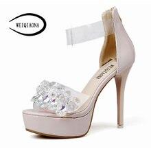 74236fca7 WEIQIAONA Novas mulheres casuais sapatos de salto alto luxo Strass estrelas  stiltto Do Dedo Do Pé