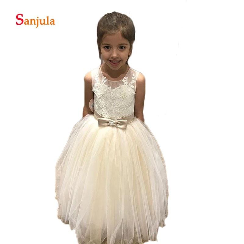 Tank Ball Gown Little Princess   Flower     Girls     Dresses   2019 Newly Appliques Waist Bow Open Back Birthday Party   Dresses   D276