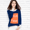 2016 New women's winter T-shirt jacquard cashmere sweater casual letters loose knit Pullover colorTops Qulity Clothing