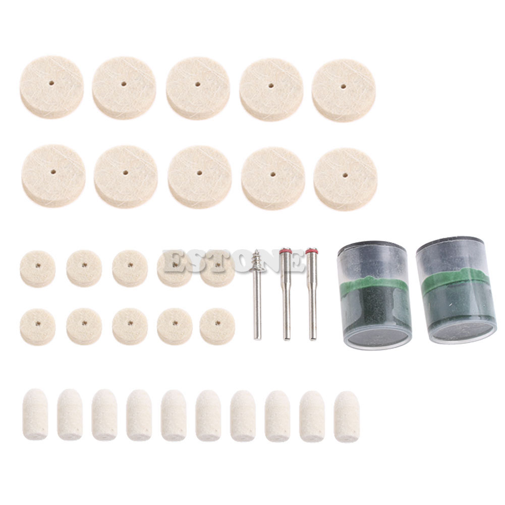 35Pcs Soft Felt Polishing Buffing Burr Wheel Kit For Dremel Rotary Tools 1/8