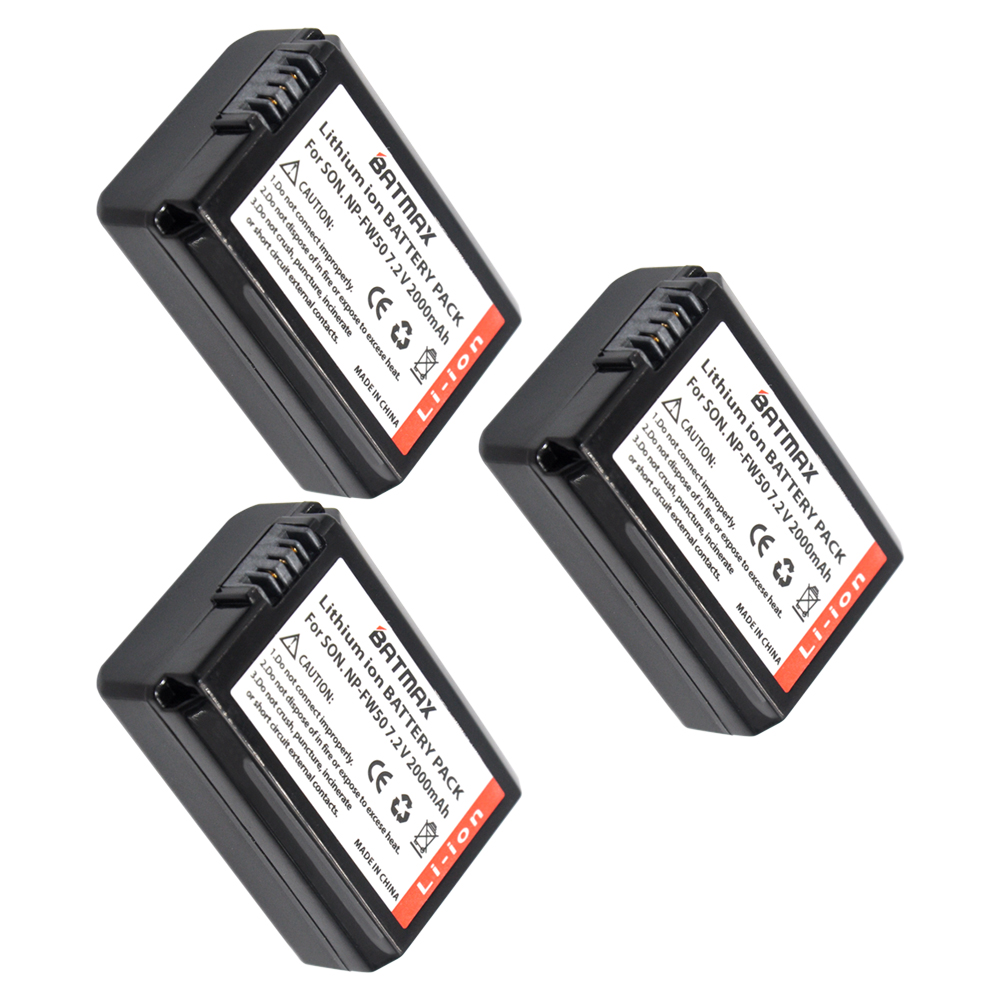 Fully Decoded 3x 2000mAh NP-FW50 FW50 NPFW50 Batteries for SONY Cam NEX-5CK NEX-5D NEX-5C NEX-3C NEX5C NEX3C NEX5 NEX3 A55 A33