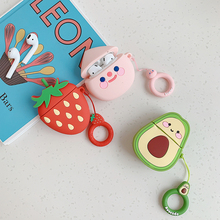 For Airpods Case 3D Fruit Strawberry Soft Silicone Protect Cover 2 Wireless Bluetooth Earphone With Finger Ring