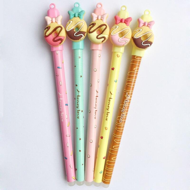 3 Pcs Lot Kawaii Donuts Effacable Stylo Dessin Anime Poupee