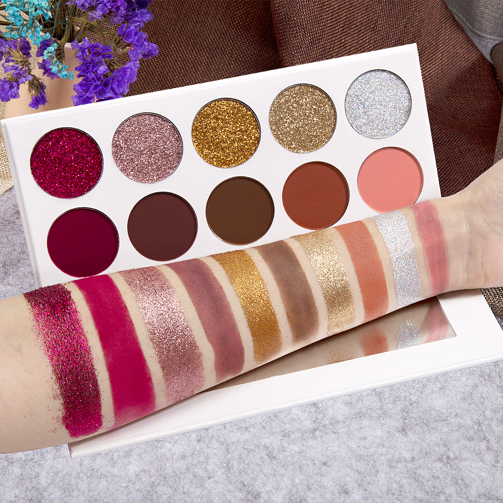 Eyeshadow Pallete Professional GOZYE 10 Color Eyeshadow Pigment 5 Glitter + 5 Matte Long-lasting Eye Shadow Makeup Powder