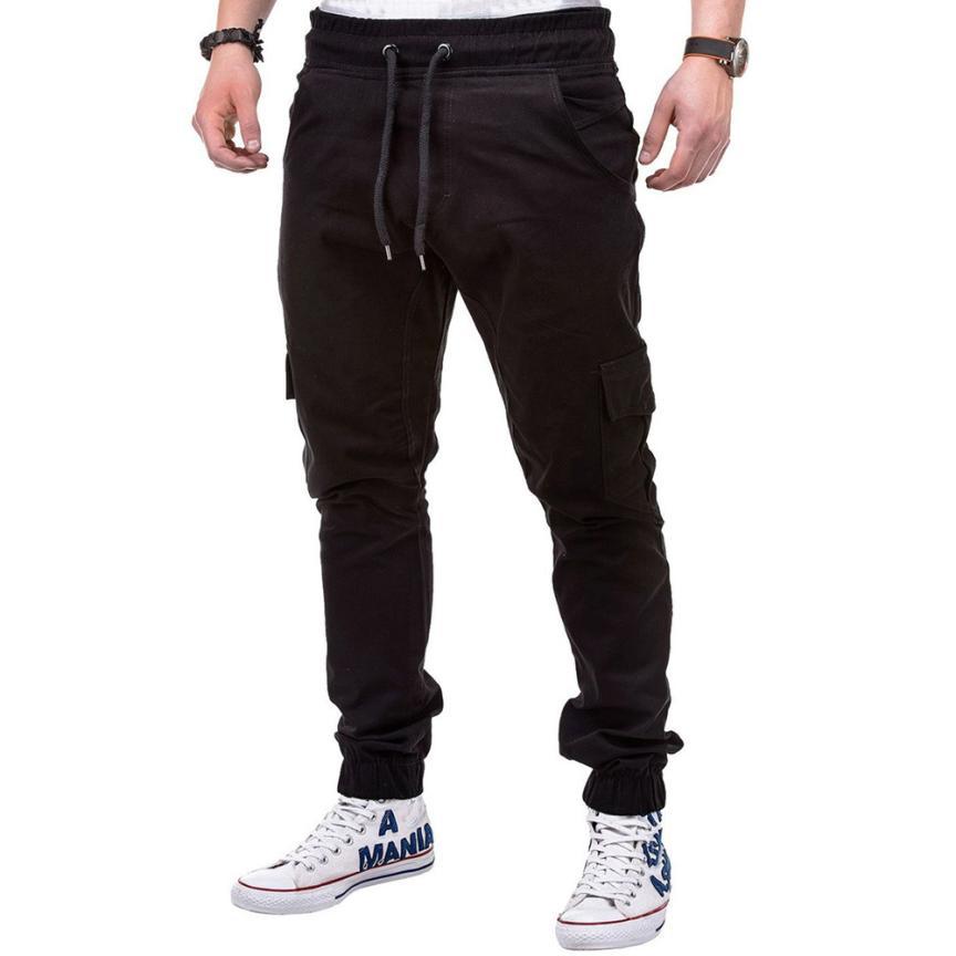 HTB1q8WcklsmBKNjSZFFq6AT9VXat Men's Pants 2018 Fashion Men's Pure Color Bandage Casual Loose Sweatpants Drawstring Pant       july22