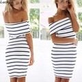 2015 Women Bandage Dress Casual Elegant Stripe Short Sleeve Slim Mini Bodycon Dress Hot Sale 25