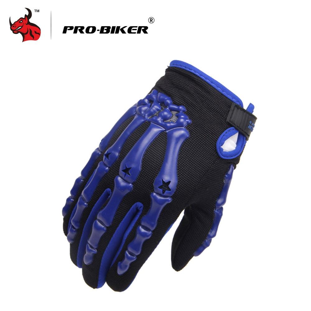 Motorcycle gloves xl - Pro Biker Blue Full Finger Bones Motorcycle Gloves Men Motorcycle Racing Gloves M Xl