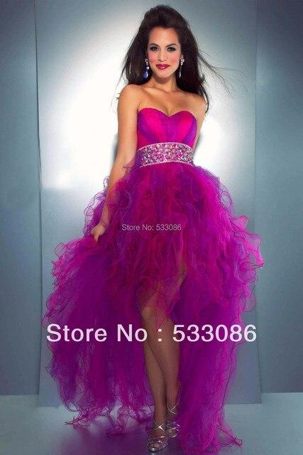 Fabulous Neon Pink Purple Strapless Sweetheart Open Back Bodice High
